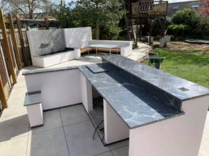 Outdoor Kitchen And Water Feature